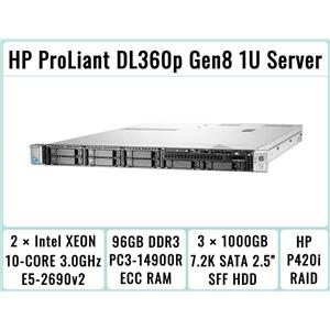 HP DL360p Gen8 Server 2×E5-2690v2 Xeon 10-Core 3.0GHz + 96GB RAM + 3×1TB SATA