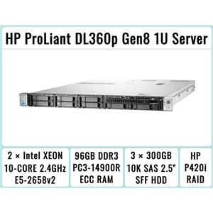 HP DL360p Gen8 Server 2×E5-2658v2 Xeon 10-Core 2.4GHz + 96GB RAM + 3×300GB SAS