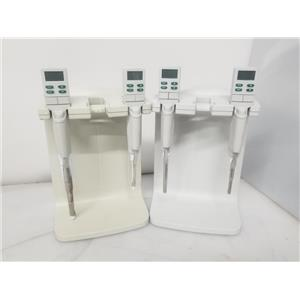 Lot of 4 Rainin EDP3 Single Channel Pipettes w/ 2 Rapid Charge Stands