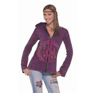 Hippie Peace Sign Purple Love Retro Hoodie