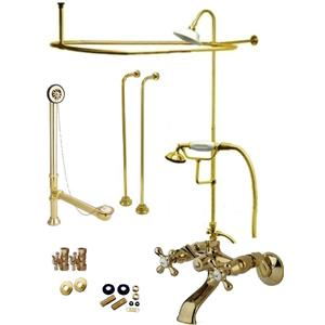 Polished Brass Clawfoot Tub Faucet Kit  Faucet, Shower Enclosure W/Head, Drain & Supply