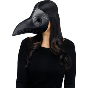 Black Faux Leather Plague Doctor Scary Halloween Mask