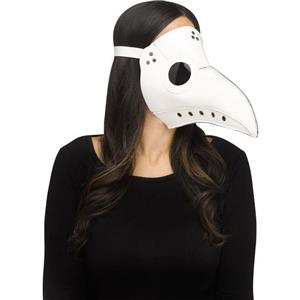 White Faux Leather Plague Doctor Scary Halloween Mask