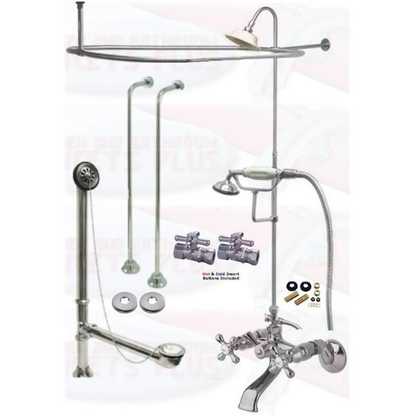 Chrome Clawfoot Tub Faucet Package Faucet, Oval Shower Enclosure W ...