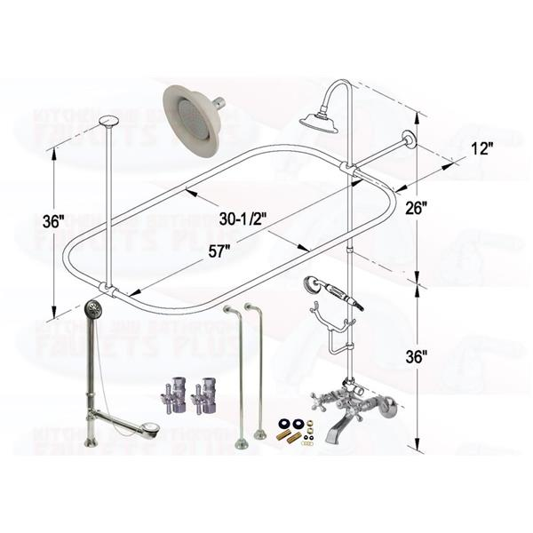 Chrome Clawfoot Tub Faucet Package Oval Shower Enclosure W Head