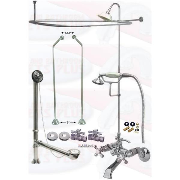 clawfoot tub plumbing kit. Chrome Clawfoot Tub Faucet Package  Oval Shower Enclosure W Head Drain