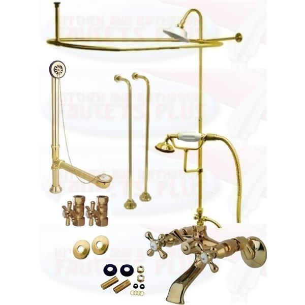clawfoot tub shower enclosure kit. Polished Brass Clawfoot Tub Faucet Kit  Shower Enclosure W Head Drain