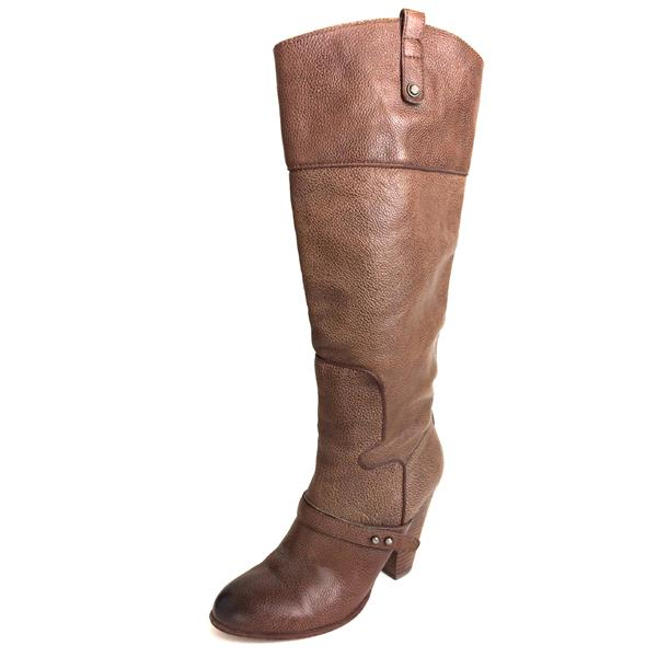 390689071becbc 8.5 Sam Edelman Naharra Brown Pebbled Leather Round Toe Knee High Pull-On  Boots . Cash in the Closet